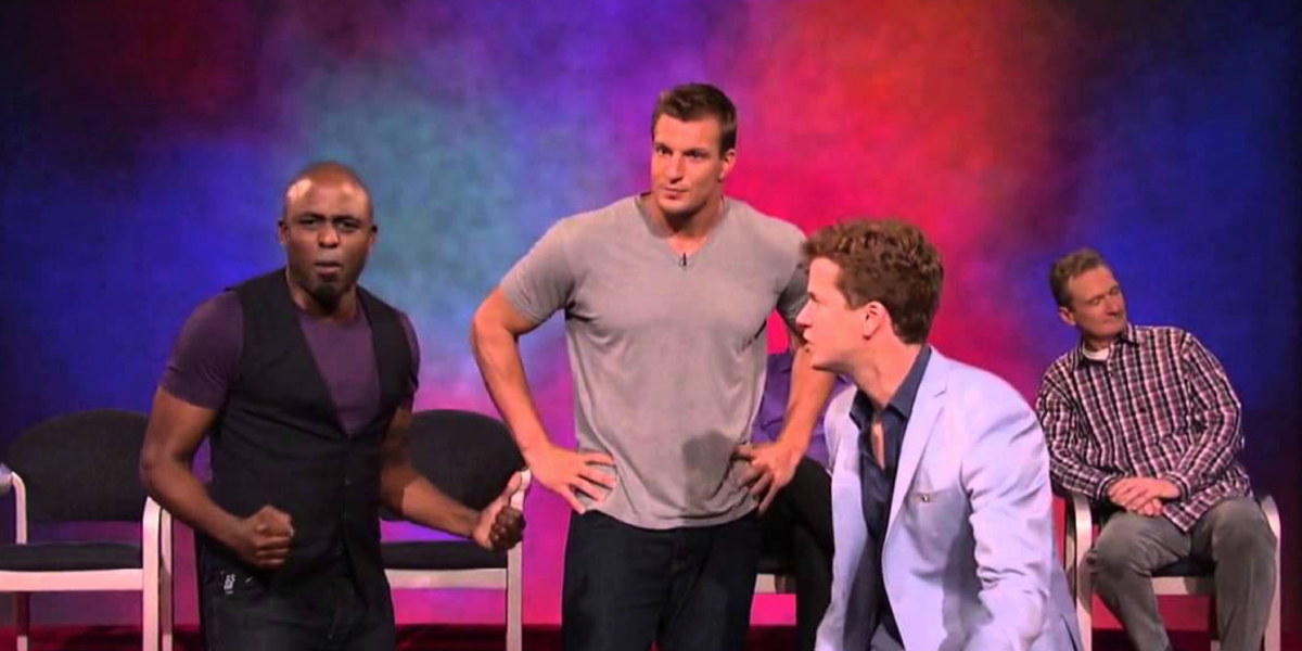 Wayne Brady and Jonathan Mangum perform with guest Rob Gronkowski on Whose Line is it Anyway?
