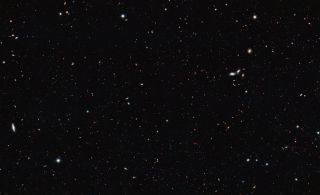 The image was taken by the Hubble Space Telescope and covers a portion of the southern field of the Great Observatories Origins Deep Survey (GOODS). This is a large galaxy census, a deep-sky study by several observatories to trace the formation and evolut