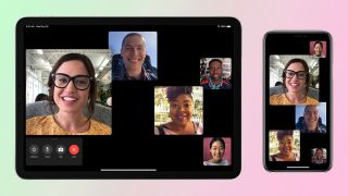 Group FaceTime chat with green and pink background