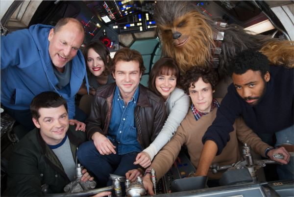 The cast of the Han Solo Star Wars Story on board the Millennium Falcon