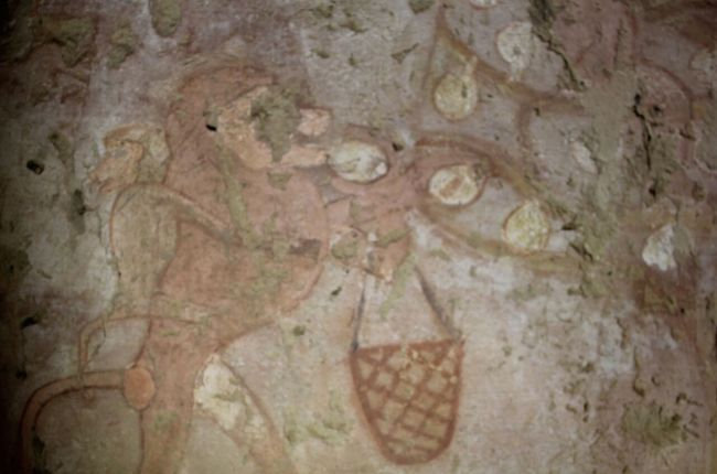 This painting from Hetpet's tomb shows a monkey reaping fruit. There appears to be a baby monkey holding onto its back.