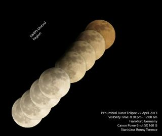 Sequential images of the moon in penumbral eclipse
