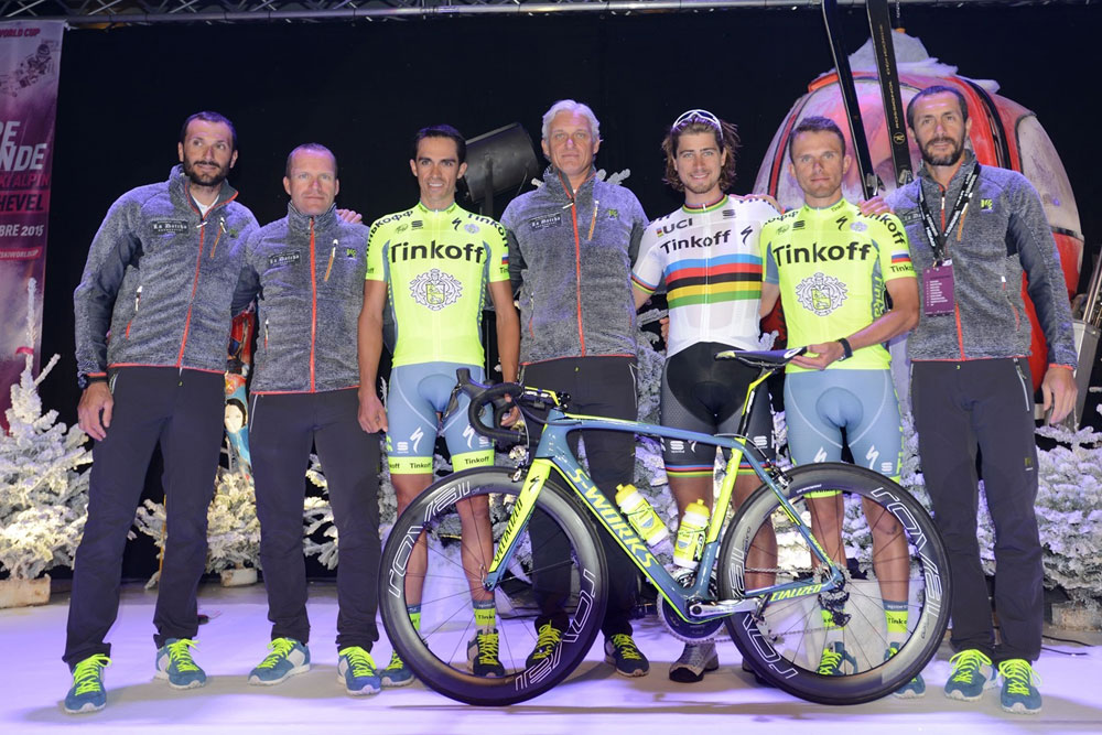 Alberto Contador, Peter Sagan and Rafal Majka in Tinkoff's 2016 kit