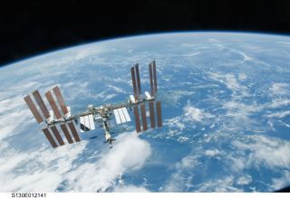 International Space Station Over Earth