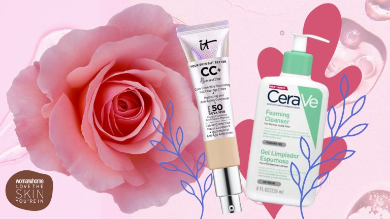 Skincare products on a floral background for an article on how to treat rosacea
