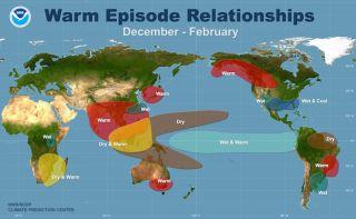 Warm Episode relationships map - Winter, la nina, el nino