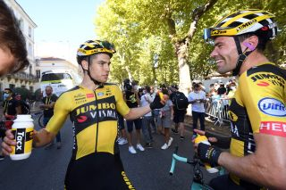 Tom Dumoulin (right) congratulates Jumbo-Visma teammate Wout Van Aert on his victory on stage 7 of the 2020 Tour de France