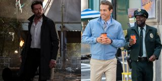 Hugh Jackman in Reminiscence, Ryan Reynolds and Lil Rel Howery in Free Guy, pictured side by side