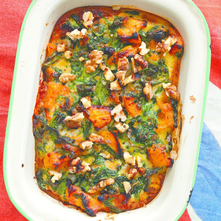 Baked Spinach, Squash and Blue Cheese Recipe