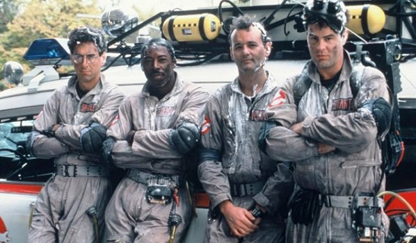 Ghostbusters Harold Ramis Ernie Hudson Bill Murray Dan Aykroyd after just saving the day