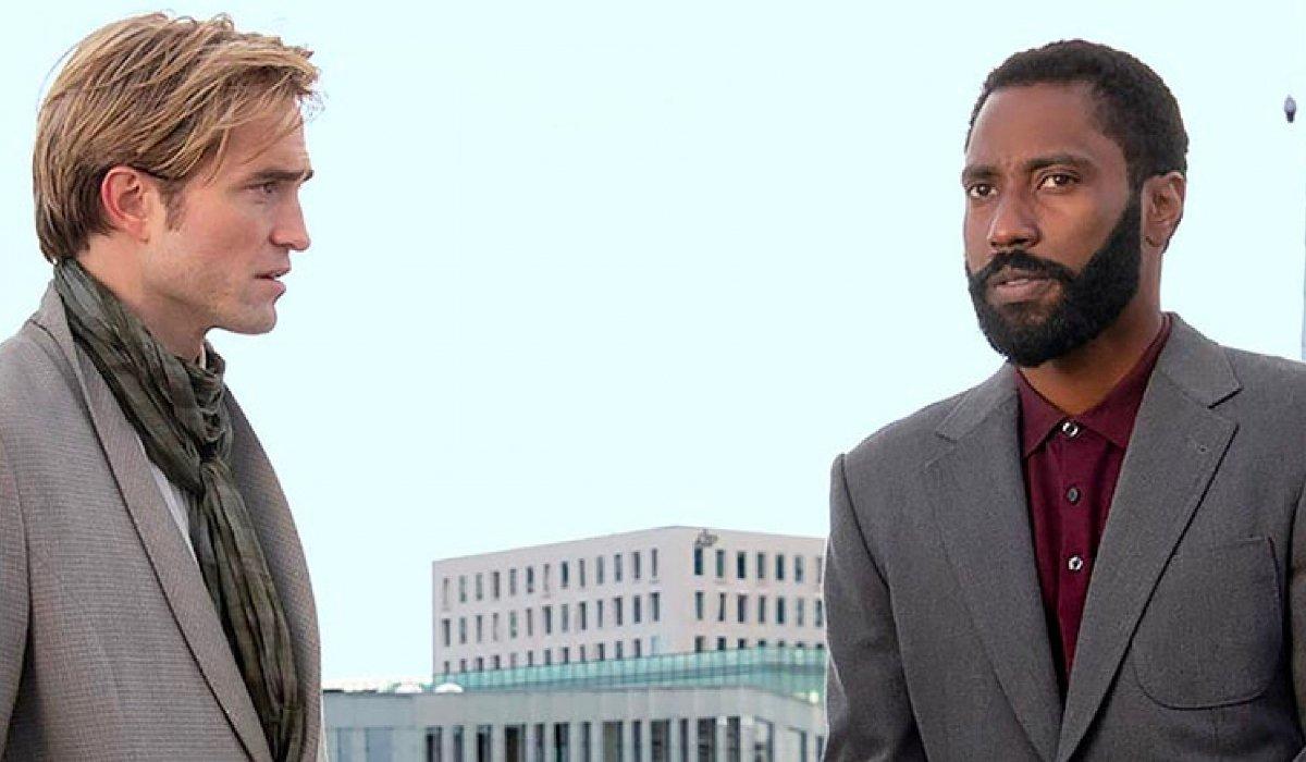 Tenet Robert Pattinson and John David Washington stand apart on the roof