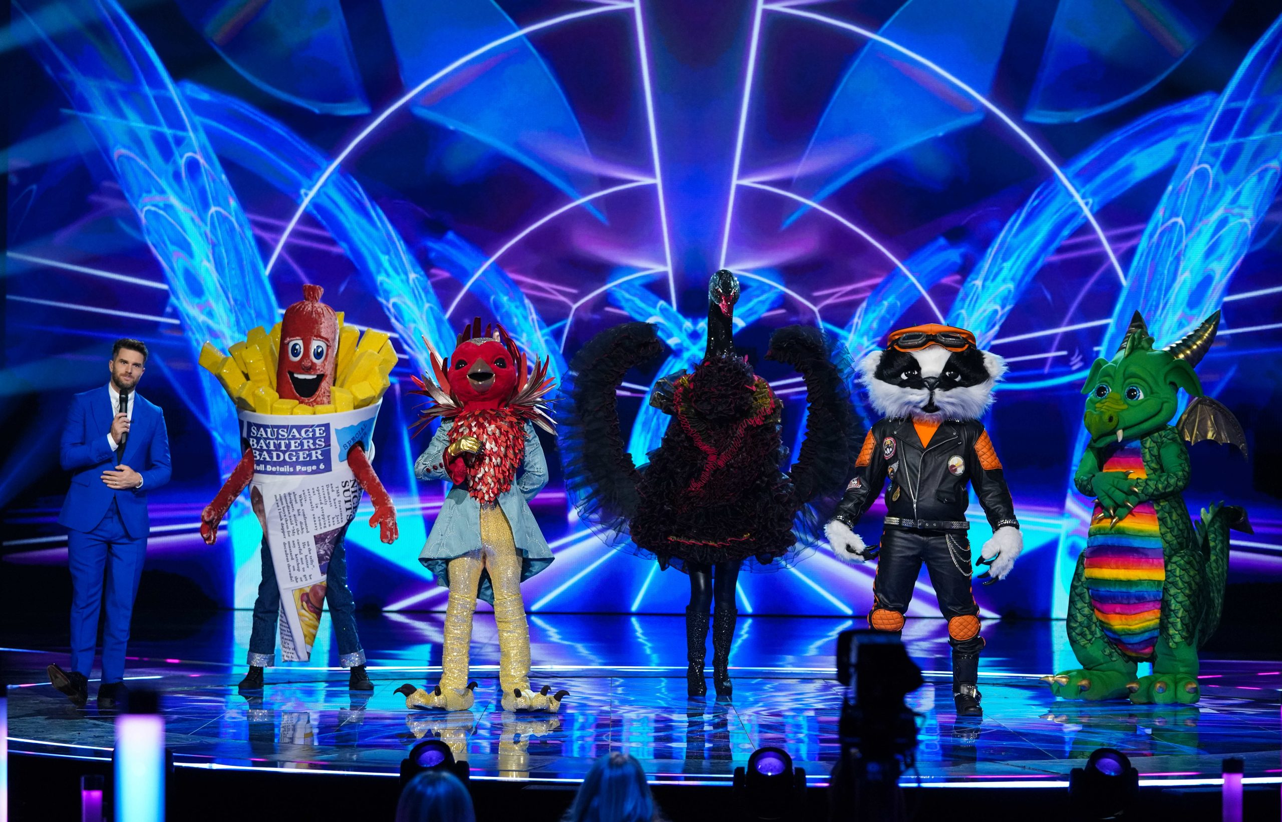 The Masked Singer's Joel Dommett admits wondering if Alien had his wife's  thighs!