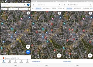 Neue Buttons in Google Maps App