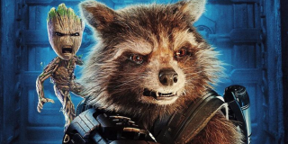 Rocket and Groot in a Guardians 2 poster