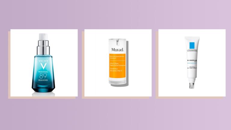 Vichy, Murad, La Roche Posay eye cream products on light purple background