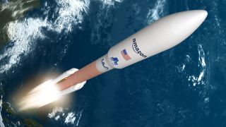 An artist's rendering of a United Launch Alliance Atlas V rocket launching Amazon's Kuiper satellites to low Earth orbit.