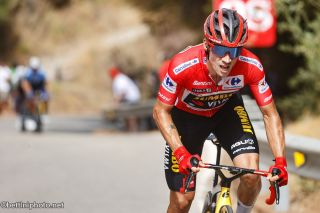 Primoz Roglic (Jumbo-Visma) attacking on stage 10 at the Vuelta a Espana