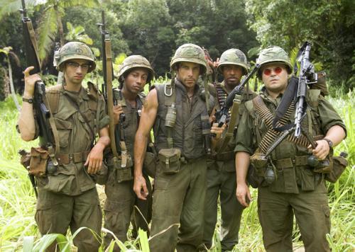 Tropic Thunder - Kevin Sandusky (Jay Baruchel), Alpa Chino (Brandon T Jackson), Tugg Speedman (Ben Stiller), Kirk Lazarus (Robert Downey Jr) and Jeff Portnoy (Jack Black)