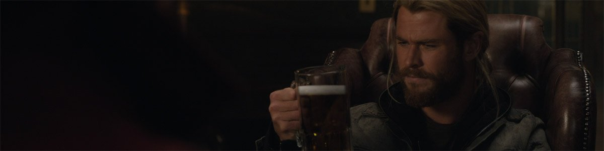 Thor (Chris Hemsworth) drinks a magic beer in Thor: Ragnarok