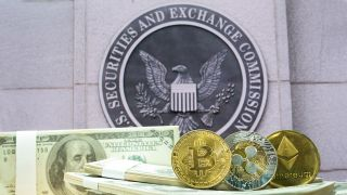 Security and Exchange Commission Seal, with crypto stock image
