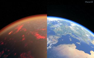 A comparison of Venus and Earth.
