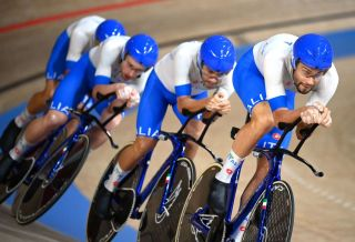 Filippo Ganna leads Italy in the men's Team Pursuit finals at the Tokyo Olympics