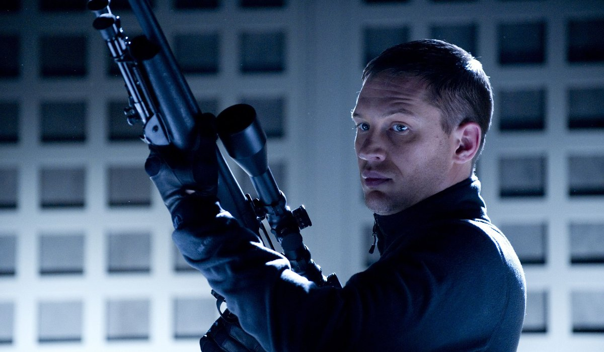 This Means War Tom Hardy readies his sniper rifle