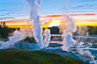 Norris Geyser Basin at sunset