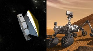 Artist's concept illustrations show (left) the Mars Science Laboratory spacecraft during its voyage from Earth to Mars and (right) the mission's rover, Curiosity, working on Mars after landing.