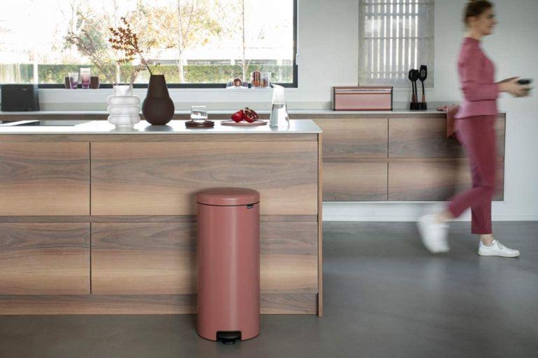 Brabantia NewIcon kitchen bin in terracotta pink
