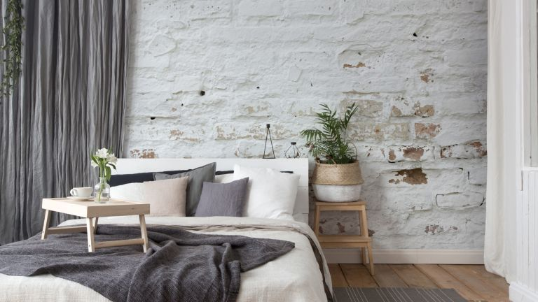 White washed brick wallpaper by Wallsauce
