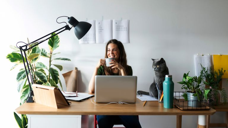 woman working from desk adorned with plants, working from home tips