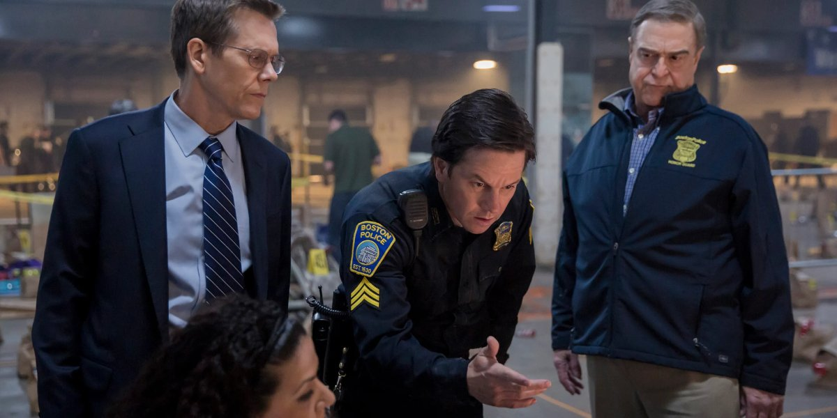 Kevin Bacon, Mark Wahlberg, and John Goodman in Patriots Day