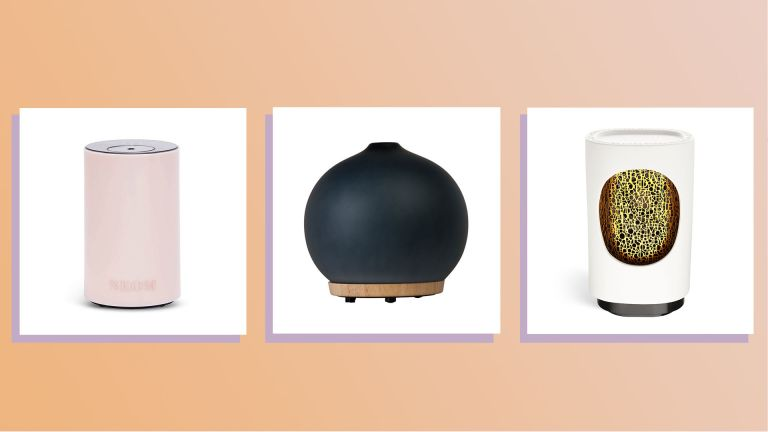 a collage image featuring a selection of w&h best essential oil diffusers