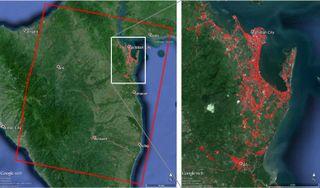 map of tNASA Map of Devastation from Typhoon Haiyan