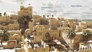 Beautiful ray-traced scene of a medieval city