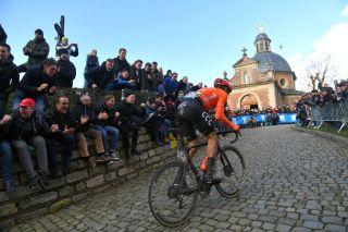 CCC Team's Matteo Trentin takes on the Muur van Gerrardsbergen at the 2020 Omloop Het Nieuwsblad