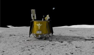 An artist's illustration of Firefly Aerospace's Blue Ghost lander on the moon.