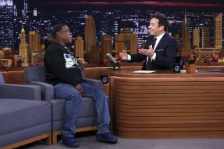 "Jimmy Fallon (r) interviews Tracy Morgan on NBC's ""The Tonight Show"""