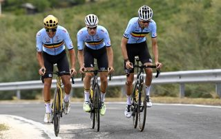 Greg Van Avermaet (left) trains with teammates from the Belgian national team, Loïc Vliegen and Pieter Serry, in Imola, Italy, ahead of the 2020 World Championships