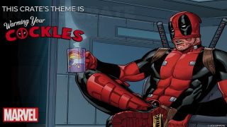Animated Deadpool sitting with his mask half pulled up and holding a unicorn mug