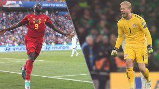 Denmark vs Belgium live stream at Euro 2020 — Romelu Lukaku of Belgium and Kasper Schmeichel of Denmark