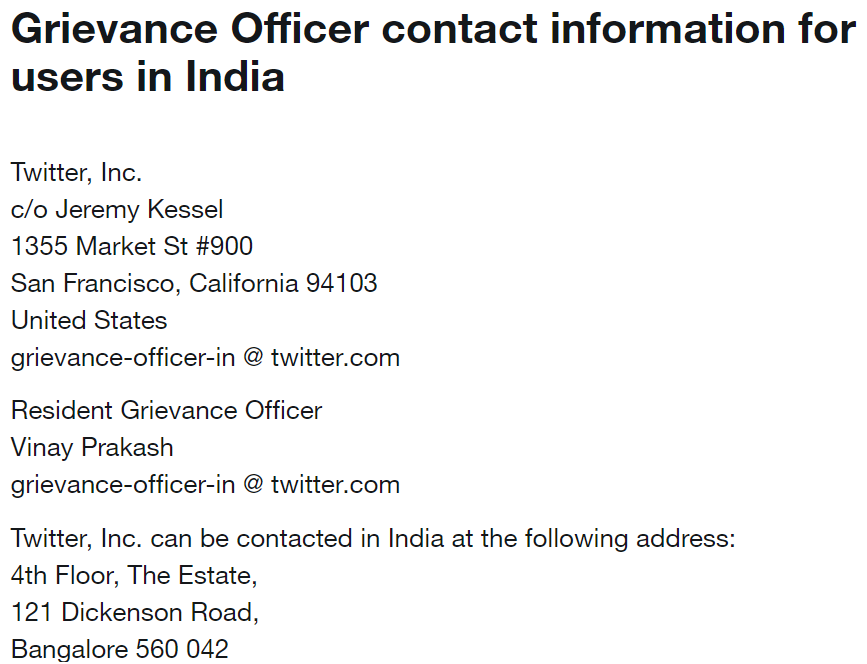 Details of Resident Grievance Officer in Twitter India