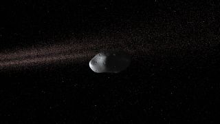 Small oblong asteroid floats in space
