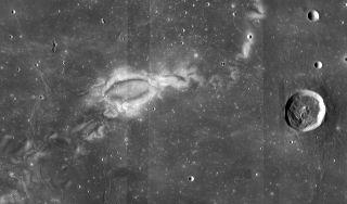 """Reiner Gamma, a mysterious """"lunar swirl"""" as seen by NASA's Lunar Reconnaissance Orbiter."""