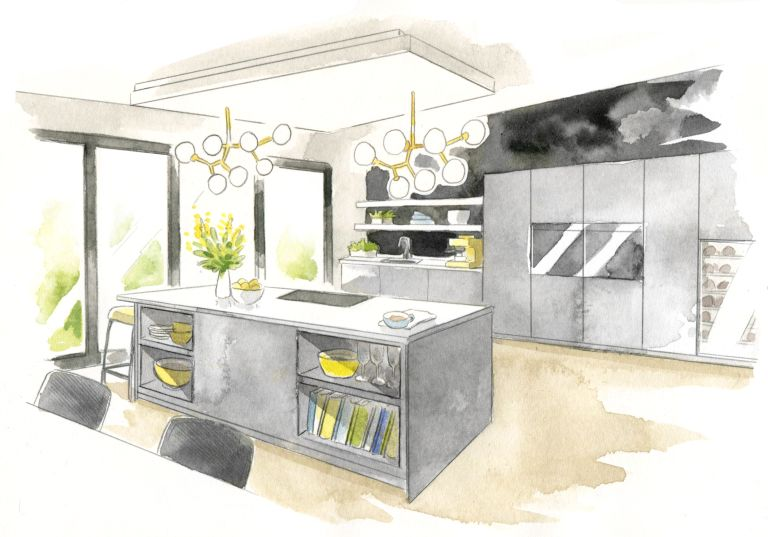 Britain's dream home: sketch showing modern grey kitchen with island, bifold doors and yellow or brass accessories and light fittings