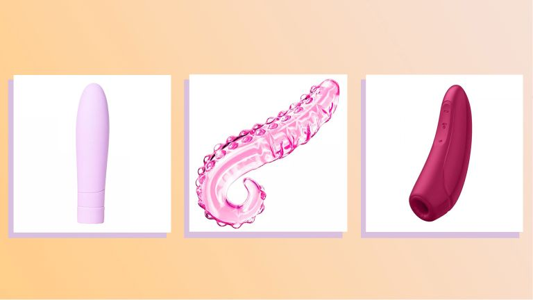 three of the best sex toys round up image, 3 sex toys photographed flat and collaged onto a peach background