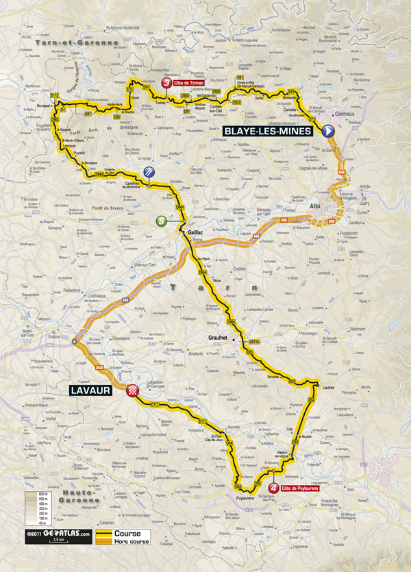 Stage 11 map, Tour de France 2011