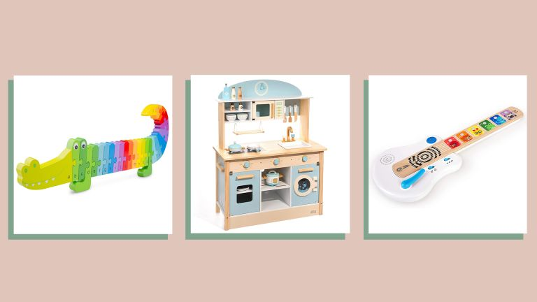 three of w&h's picks for Christmas gifts for kids—a crocodile alphabet puzzle, a play kitchen and a toy guitar—one a beige background