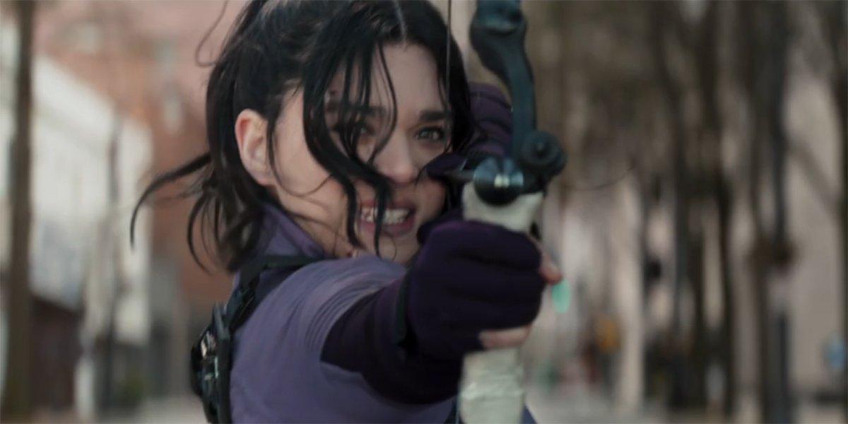 Hailee Steinfeld as Kate Bishop shooting an arrow on Hawkeye